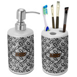 Diamond Plate Ceramic Bathroom Accessories Set (Personalized)