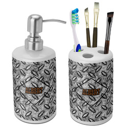 Diamond Plate Bathroom Accessories Set (Ceramic) (Personalized)