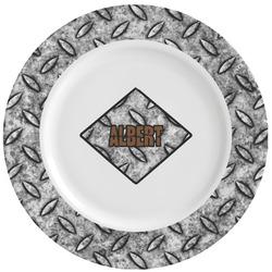 Diamond Plate Ceramic Dinner Plates (Set of 4) (Personalized)
