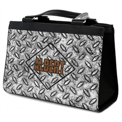 Diamond Plate Classic Tote Purse w/ Leather Trim w/ Name or Text