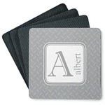 Diamond Plate 4 Square Coasters - Rubber Backed (Personalized)