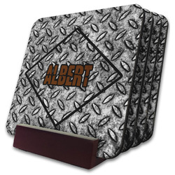 Diamond Plate Coaster Set w/ Stand (Personalized)