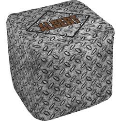 """Diamond Plate Cube Pouf Ottoman - 18"""" (Personalized)"""
