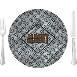 "Diamond Plate Glass Lunch / Dinner Plates 10"" - Single or Set (Personalized)"