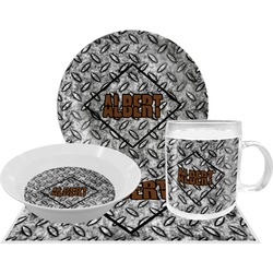 Diamond Plate Dinner Set - 4 Pc (Personalized)