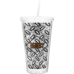 Diamond Plate Double Wall Tumbler with Straw (Personalized)