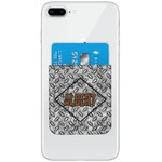 Diamond Plate Genuine Leather Adhesive Phone Wallet (Personalized)