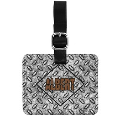 Diamond Plate Genuine Leather Rectangular  Luggage Tag (Personalized)