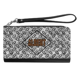 Diamond Plate Genuine Leather Smartphone Wrist Wallet (Personalized)