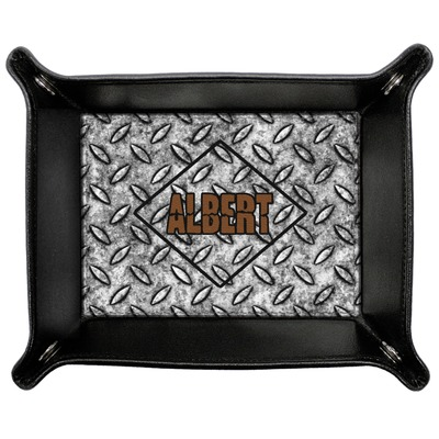 Diamond Plate Genuine Leather Valet Tray (Personalized)