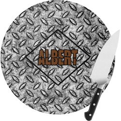 Diamond Plate Round Glass Cutting Board (Personalized)