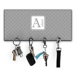 Diamond Plate Key Hanger w/ 4 Hooks (Personalized)