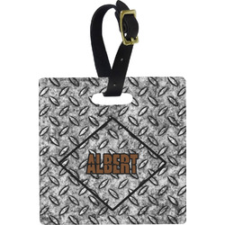 Diamond Plate Plastic Luggage Tag - Square w/ Name or Text
