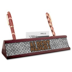 Diamond Plate Red Mahogany Nameplate with Business Card Holder (Personalized)