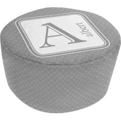 Diamond Plate Round Pouf Ottoman (Personalized)