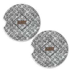 Diamond Plate Sandstone Car Coasters - Set of 2 (Personalized)