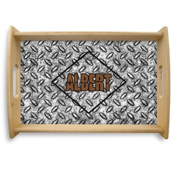 Diamond Plate Natural Wooden Tray (Personalized)