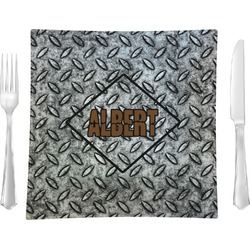 """Diamond Plate Glass Square Lunch / Dinner Plate 9.5"""" - Single or Set of 4 (Personalized)"""