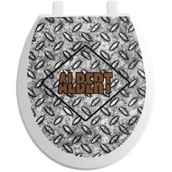 Diamond Plate Toilet Seat Decal - Round (Personalized)