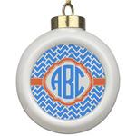 Zigzag Ceramic Ball Ornament (Personalized)