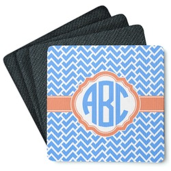 Zigzag 4 Square Coasters - Rubber Backed (Personalized)