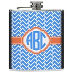 Zigzag Genuine Leather Flask (Personalized)