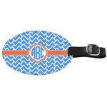 Zigzag Genuine Leather Oval Luggage Tag (Personalized)