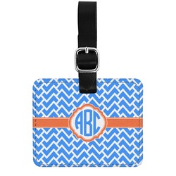 Zigzag Genuine Leather Rectangular  Luggage Tag (Personalized)