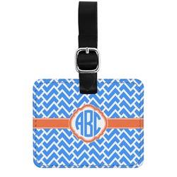 Zigzag Genuine Leather Rectangular  Luggage Tag (Personalized)