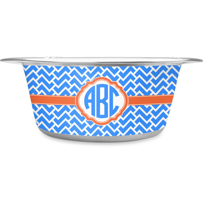 Zigzag Stainless Steel Dog Bowl (Personalized)