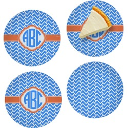 """Zigzag Set of 4 Glass Appetizer / Dessert Plate 8"""" (Personalized)"""