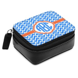 Zigzag Small Leatherette Travel Pill Case (Personalized)