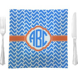 "Zigzag Glass Square Lunch / Dinner Plate 9.5"" - Single or Set of 4 (Personalized)"