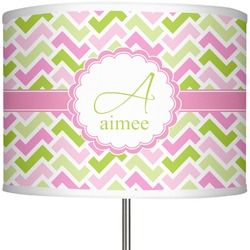 """Pink & Green Geometric 13"""" Drum Lamp Shade Polyester (Personalized)"""