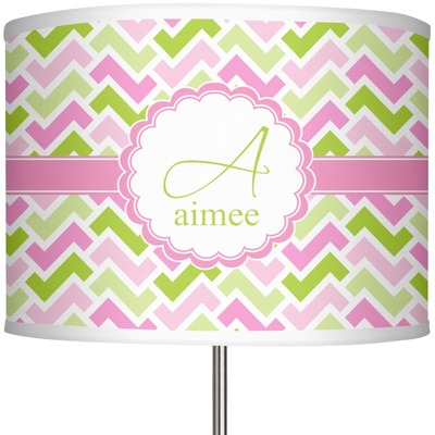 """Pink & Green Geometric 13"""" Drum Lamp Shade (Personalized)"""