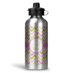 Pink & Green Geometric Water Bottle - Aluminum - 20 oz (Personalized)