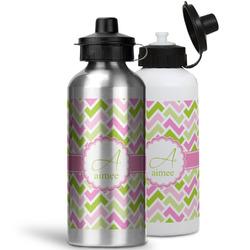 Pink & Green Geometric Water Bottles- Aluminum (Personalized)