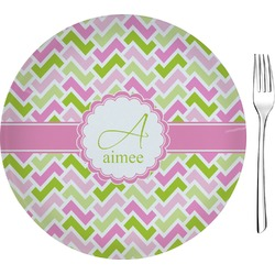 "Pink & Green Geometric 8"" Glass Appetizer / Dessert Plates - Single or Set (Personalized)"