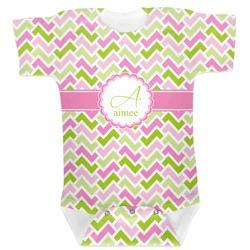 Pink & Green Geometric Baby Bodysuit (Personalized)
