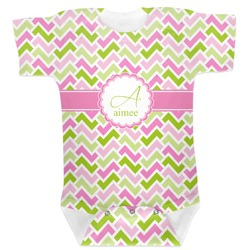 Pink & Green Geometric Baby Bodysuit (Personalized)