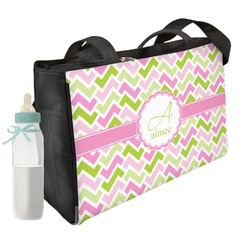 Pink & Green Geometric Diaper Bag (Personalized)
