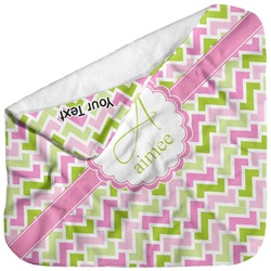 Pink & Green Geometric Baby Hooded Towel (Personalized)