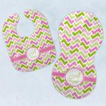 Pink & Green Geometric Baby Bib & Burp Set w/ Name and Initial
