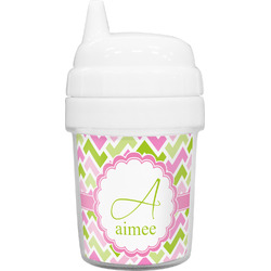 Pink & Green Geometric Baby Sippy Cup (Personalized)