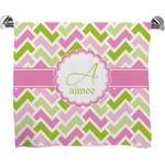 Pink & Green Geometric Full Print Bath Towel (Personalized)