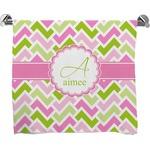 Pink & Green Geometric Bath Towel (Personalized)