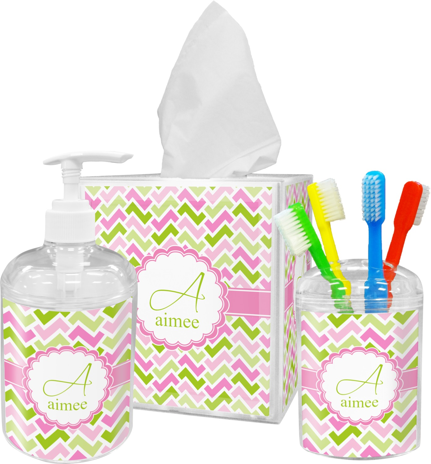 Pink & Green Geometric Bathroom Accessories Set (Personalized ...