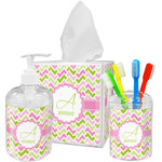 Pink & Green Geometric Acrylic Bathroom Accessories Set w/ Name and Initial