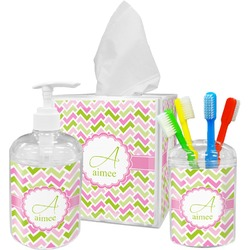 Pink & Green Geometric Bathroom Accessories Set (Personalized)