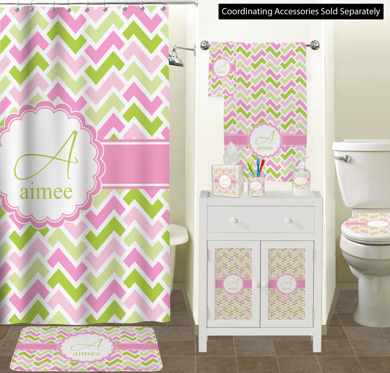 Pink & Green Geometric Bathroom Accessories Set (Ceramic ...